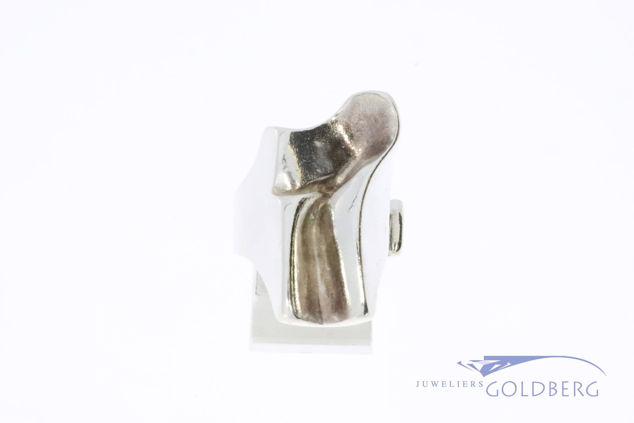 Vintage silver modernist Lapponia ring by Bjorn Weckstrom 1977