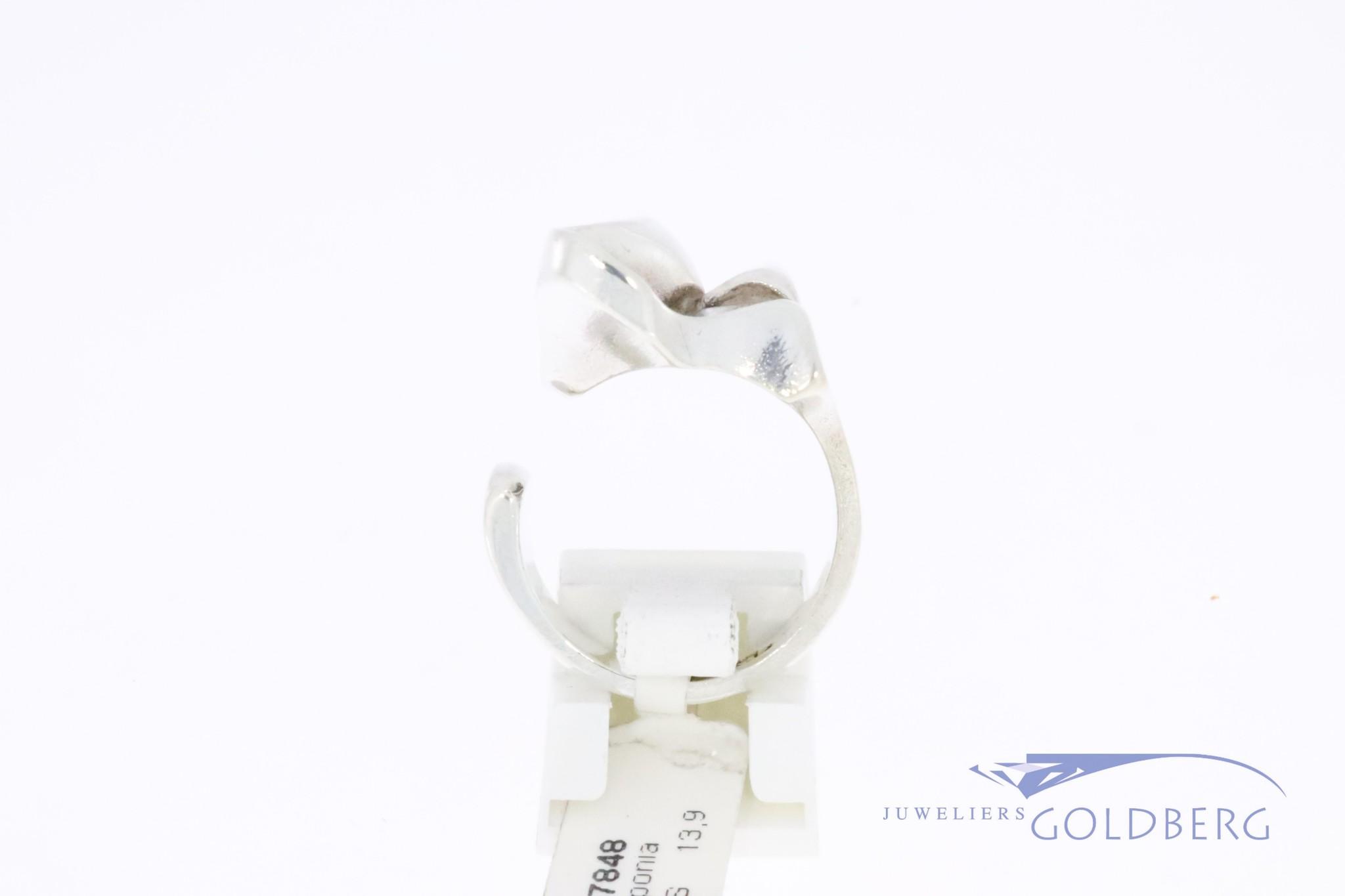 Vintage zilver modernistische Lapponia ring van Bjorn Weckstrom 1977