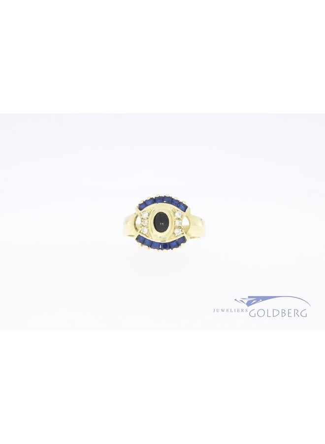 Large 14k gold vintage ring with zirconia and synthetic blue sapphires