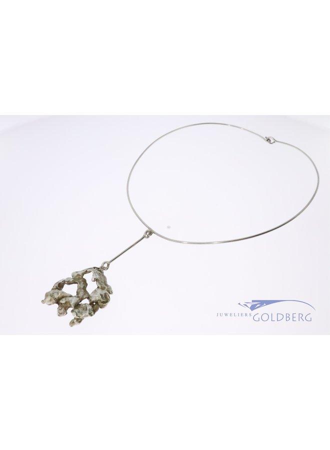 Vintage silver design necklace by famous Dutch sculptor Menno Meijer