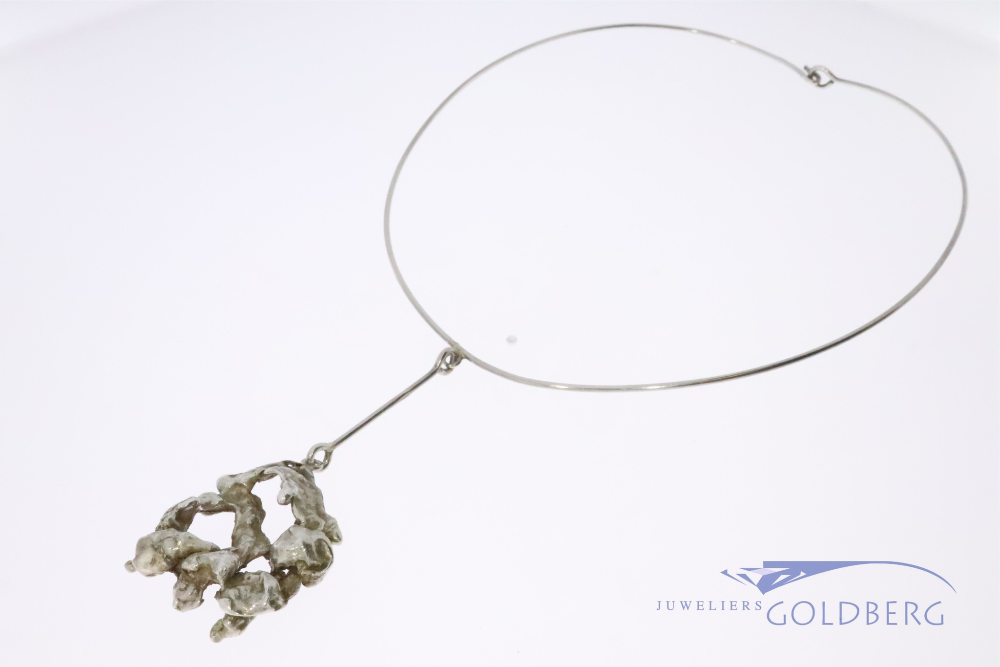 Vintage silver design necklace by famous Dutch sculptor Menno Meijer