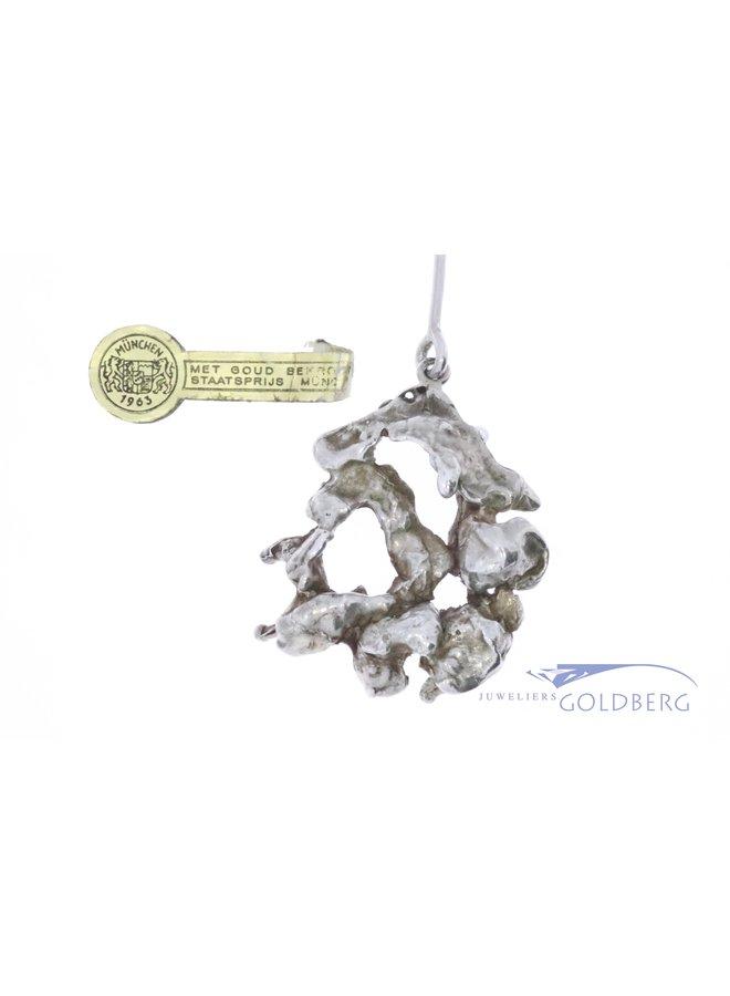 Vintage zilveren design collier Menno Meijer