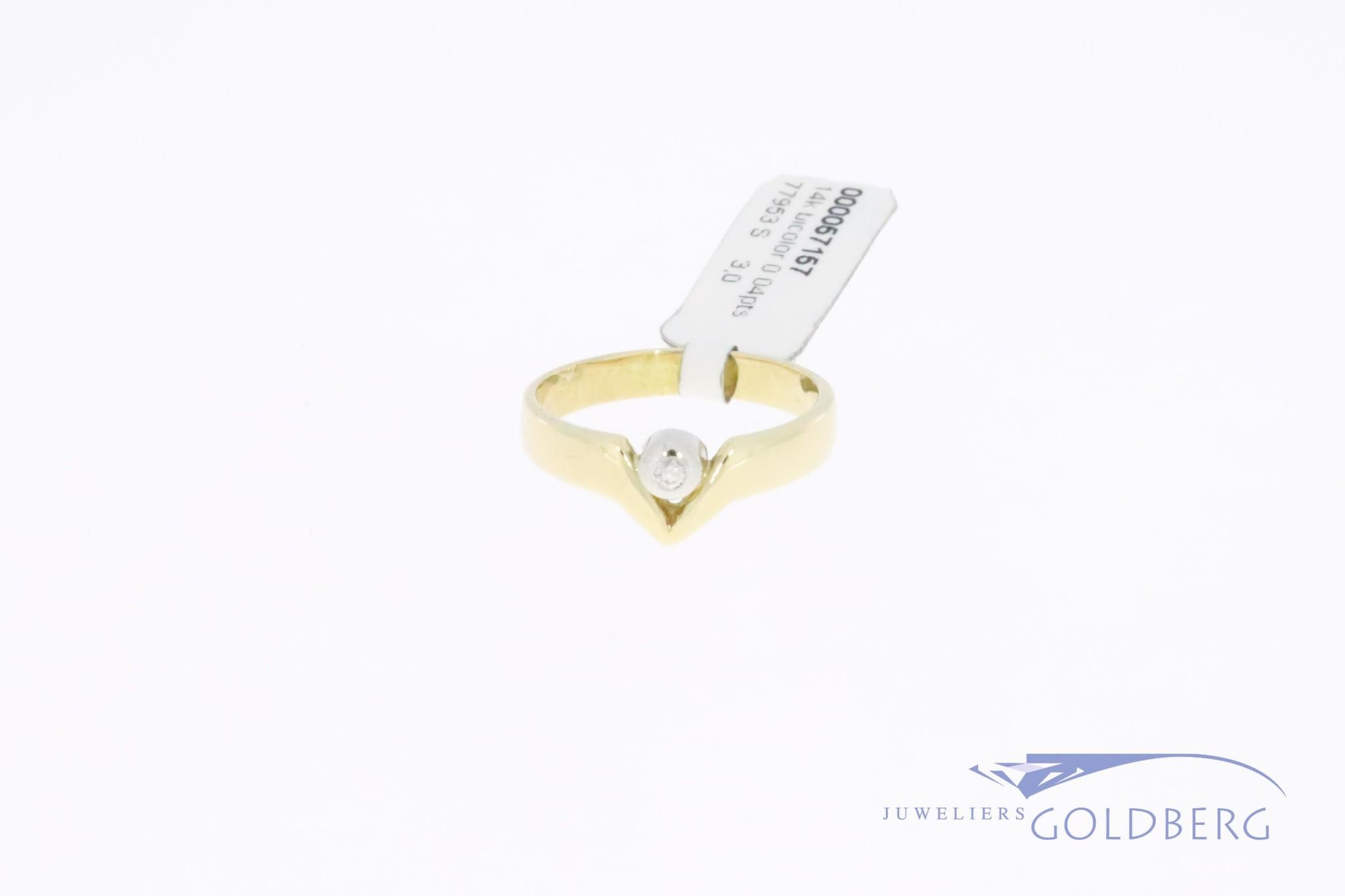 Modern 14k gouden bicolor ringetje met 0.04ct briljant