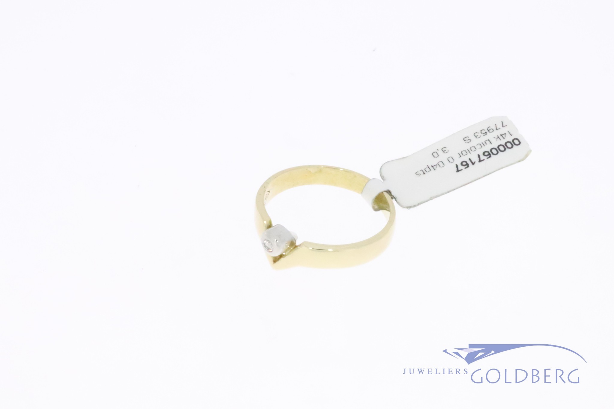 modern 14k gold bicolor ring with 0.04ct diamond