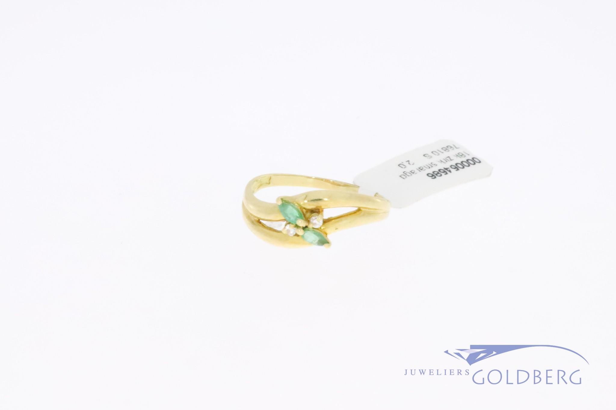 18k gouden vintage ring met zirconia en  markies geslepen smaragd