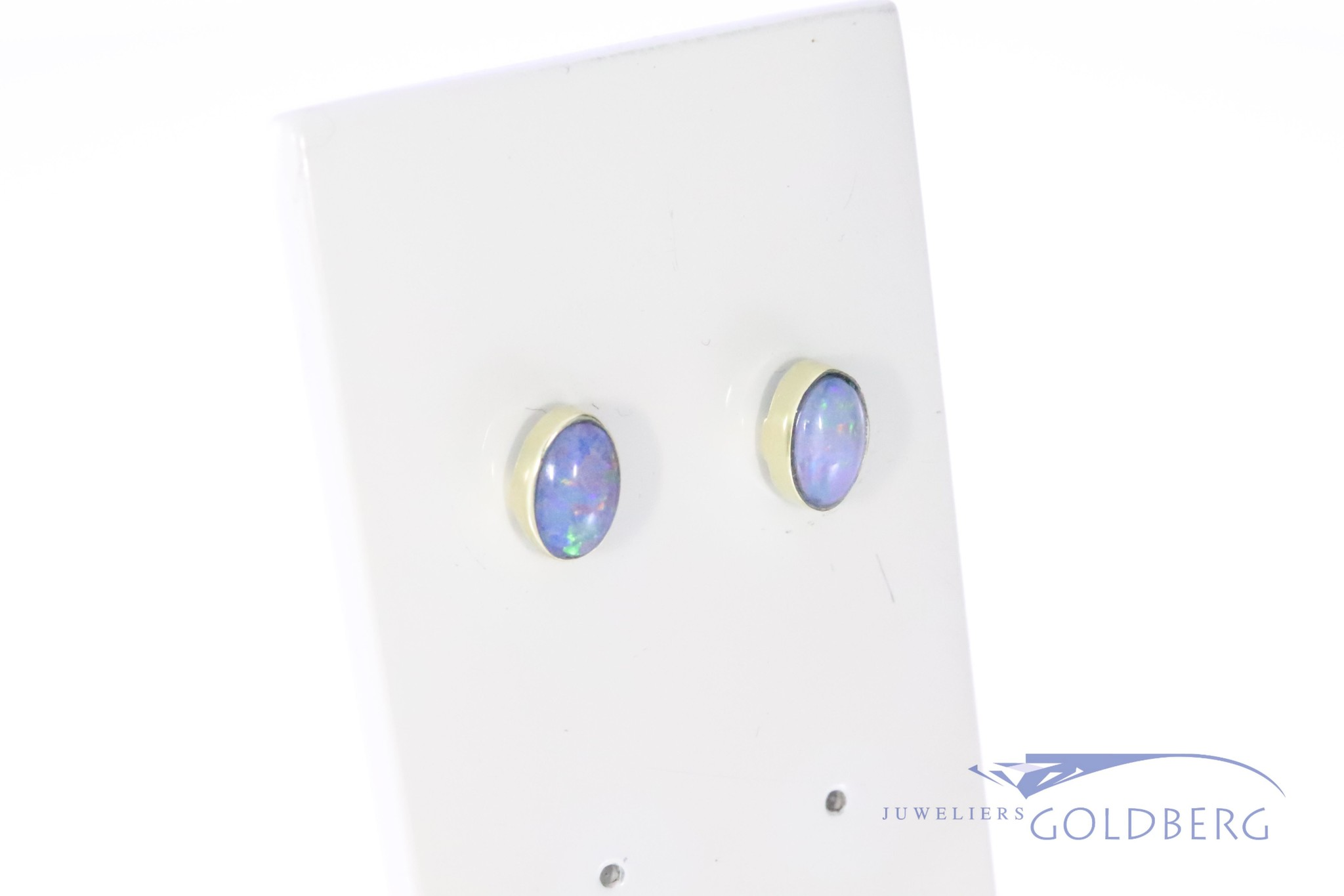 14k gold ear studs with opal 6x4mm from our own workshop