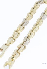 Volle, 14k gouden bicolor vintage schakelarmband 19cm