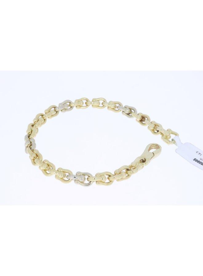 14k gold bicolor vintage bracelet 19cm