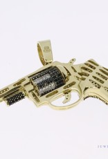Large 14k gold revolver pendant with rotating cylinder and multiple zirconia's