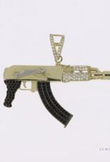 14k gold AK47 Assault rifle pendant with zirconia