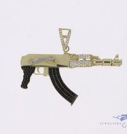 14k gold AK47 Assault rifle pendant with zirconia