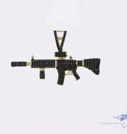 14k gold M4 carbine pendant with black zirconia