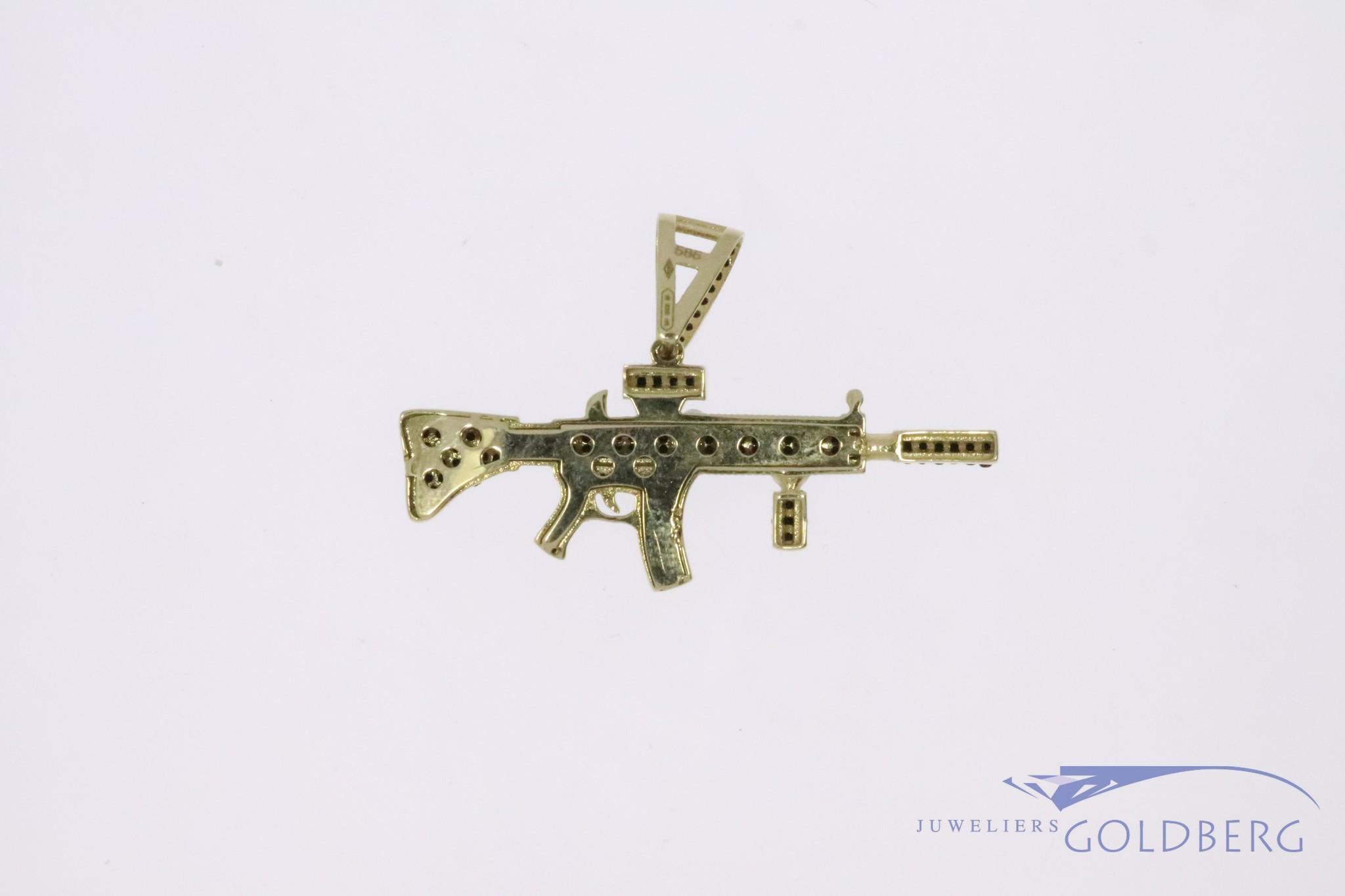 14k gold silenced M4 carbine pendant with black zirconia