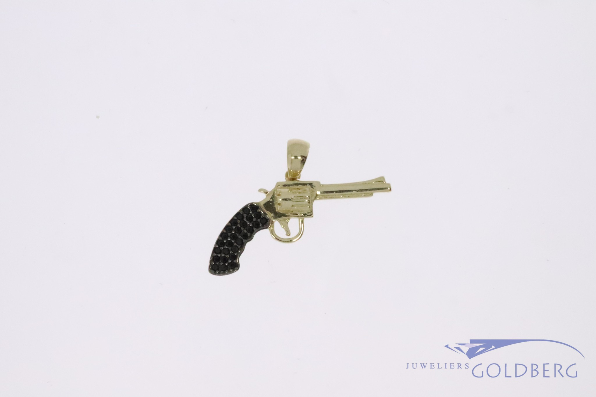 14k gold small revolver pendant with black zirconia's
