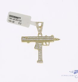 "14k gold ""Uzi"" pendant with white zirconia's"