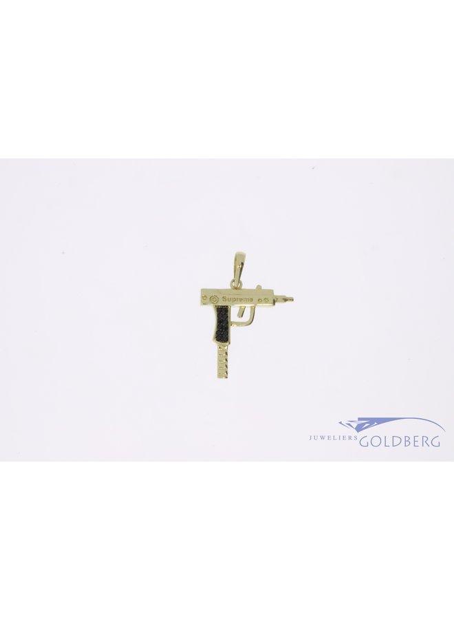 "14k gold mini ""UZI"" pendant with black zirconia"