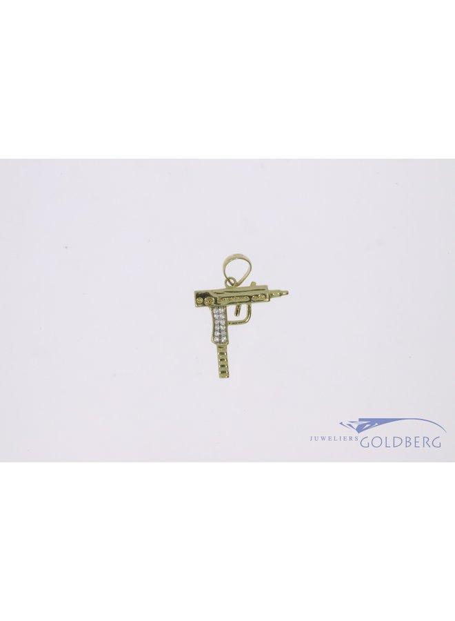 "14k gold mini ""UZI"" pendant with white zirconia"