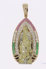 14k gold Mother Mary pendant with zirconia's in various colors