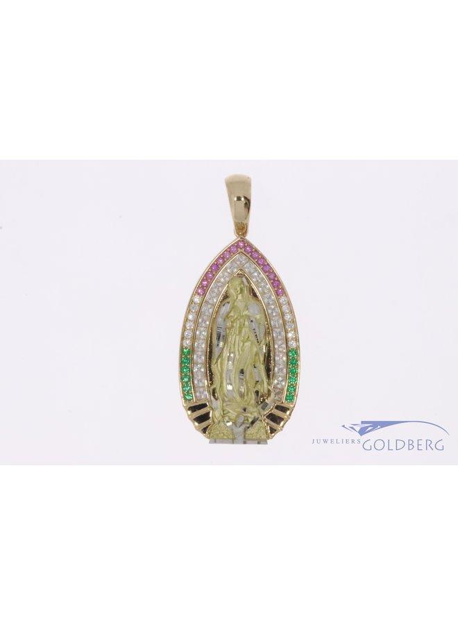 14k gouden Maria hanger met diverse kleuren zirconia's