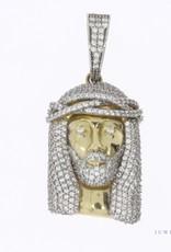 14k gold Jesus pendant with zirconia's