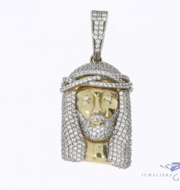 14k gold Jesus pendant with zirconia's