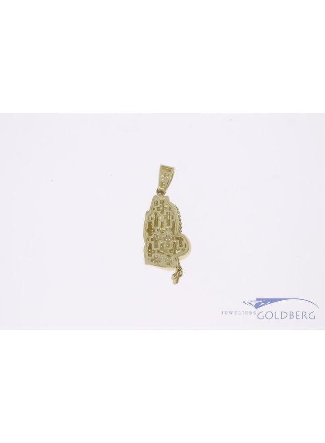 14k gouden biddende handen hanger met zirconia's