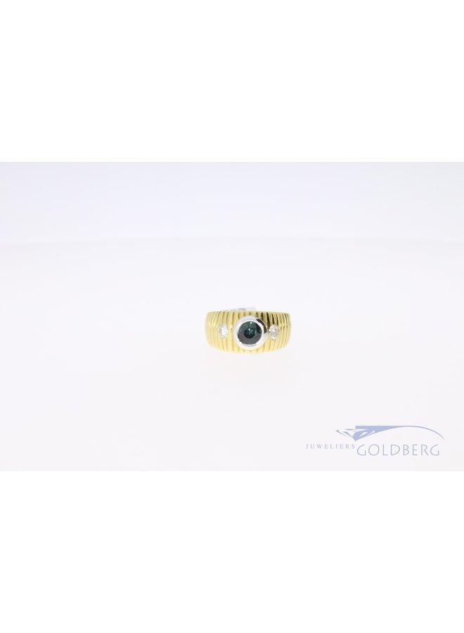 18k ring met briljant diamant en blauwe saffier
