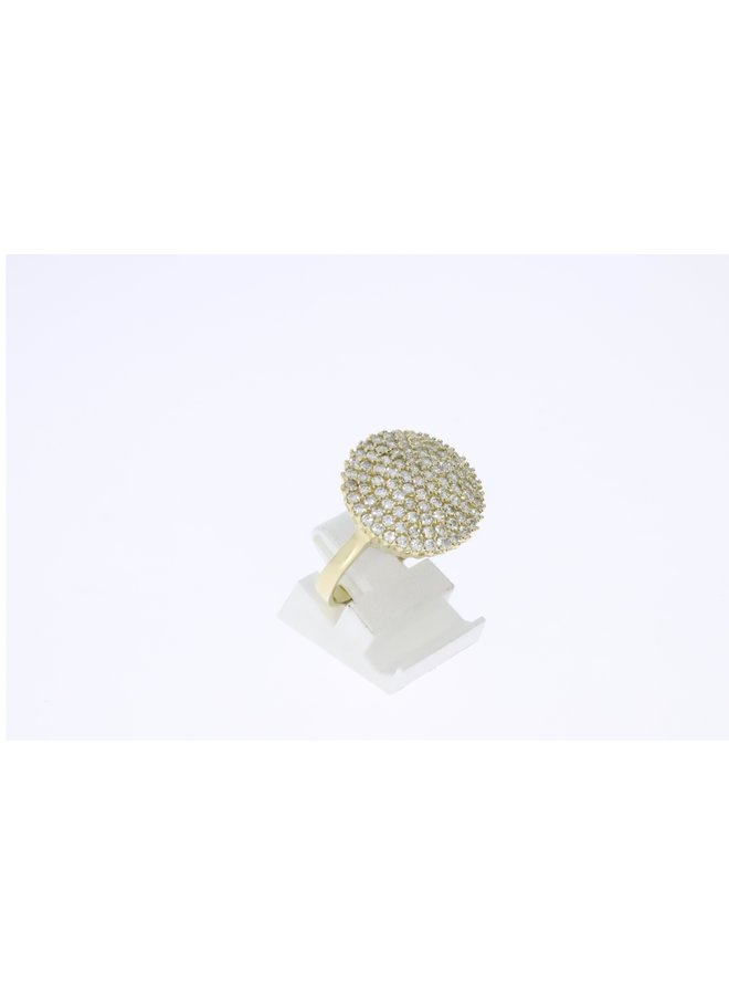 14k yellow gold ring with pave setting zirconia