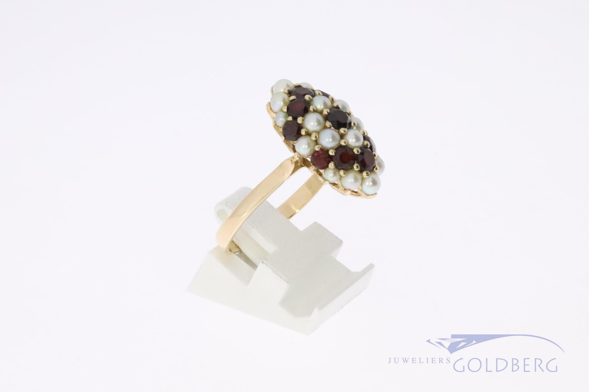 14k vintage fantasyring with garnets and pearls