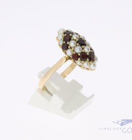 14k ring with garnets and pearls