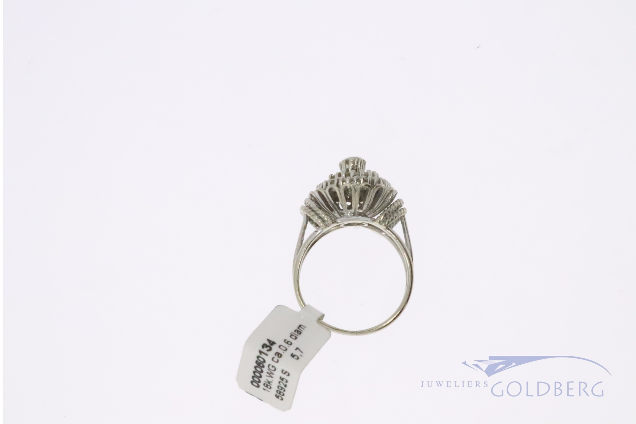 white gold vintage 18k rosette ring with diamonds