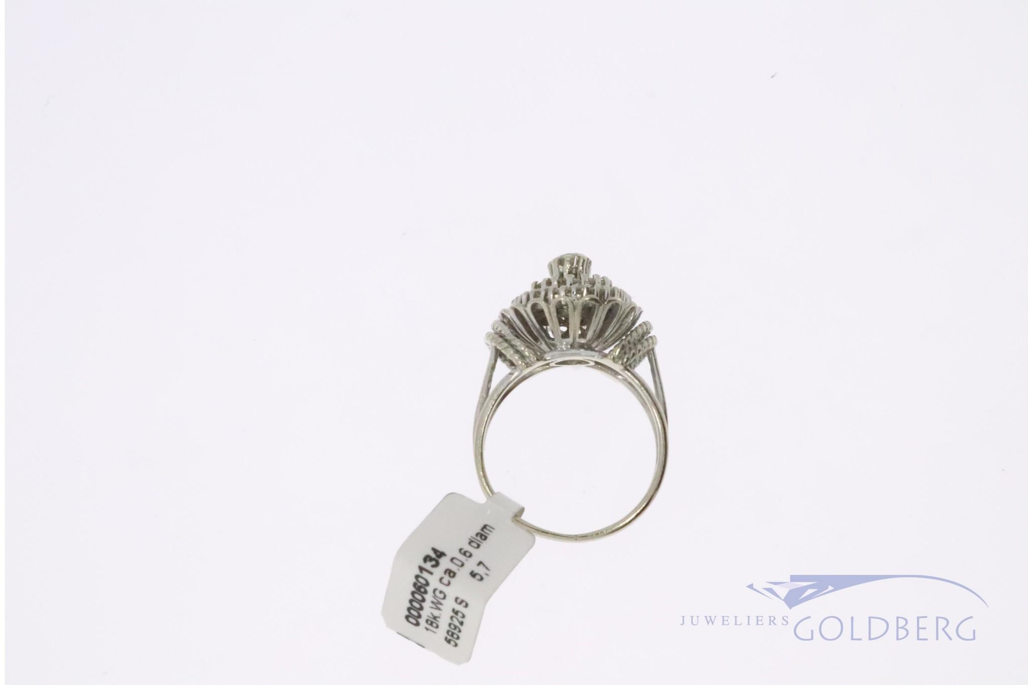 witgouden vintage 18k rozet ring with diamonds