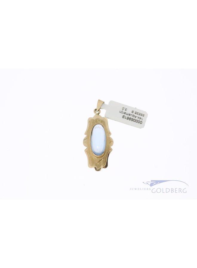14k gouden hanger met  aquamarijn