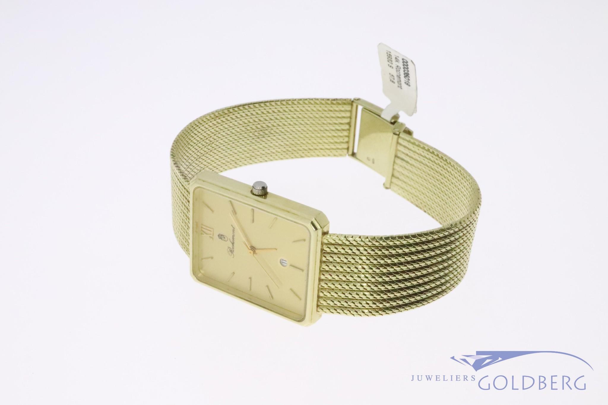 14k gouden Rochemont Quartz horloge met rechthoekige goudkleurige wijzerplaat