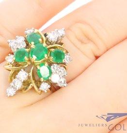 Prachtige 18k geelgouden ring met smaragd en diamant