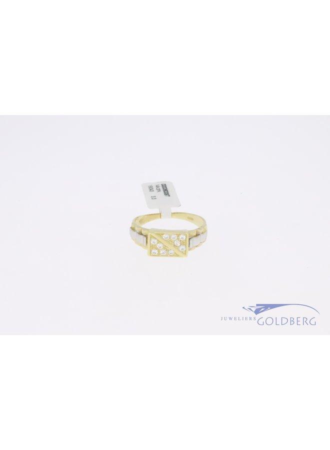 14k gold bicolor retro signet ring thin with zirkonia's