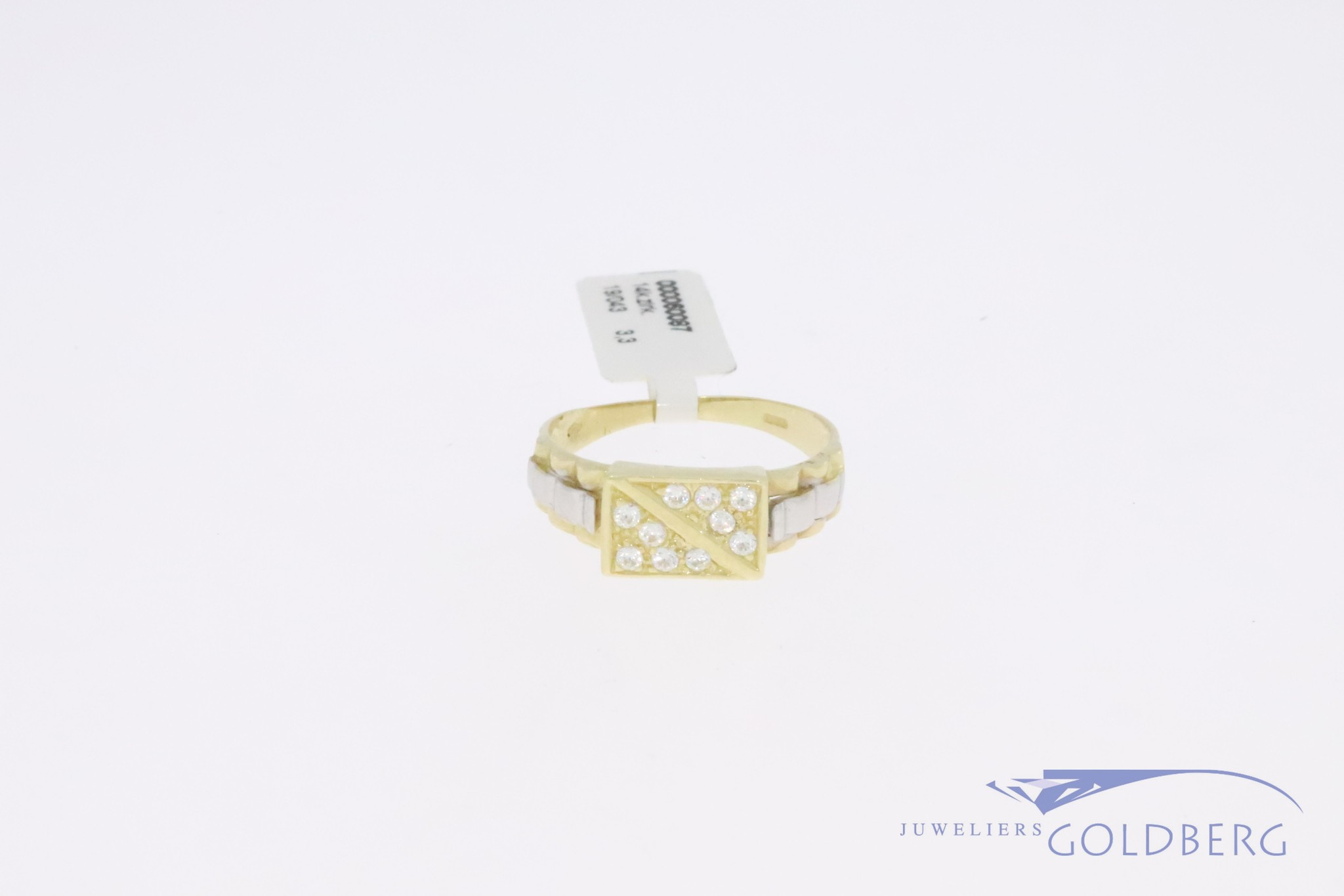 Sturdy 14k gold bicolor retro signet ring thin  ('80s-'90s style) with zirkonia's