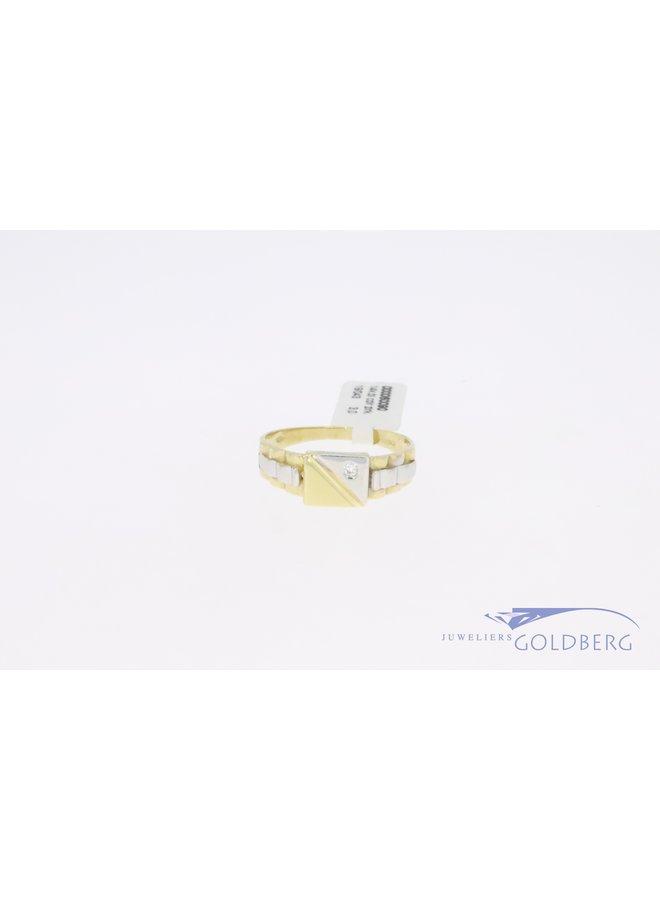 14k gouden bicolor retro ring smal met 1 zirkonia