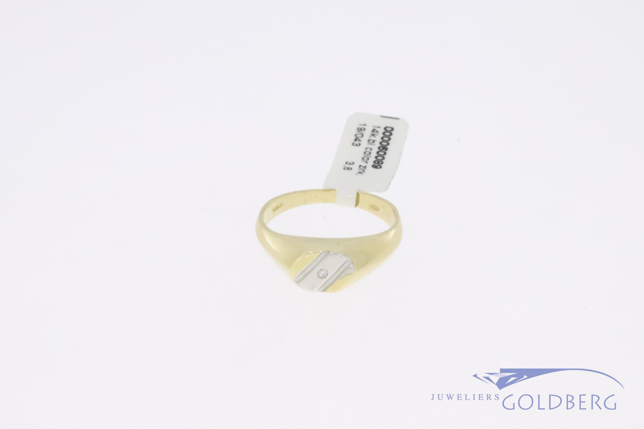 14k gold bicolor retro signet ring/pink ring ('80s-'90s style) with zirconia