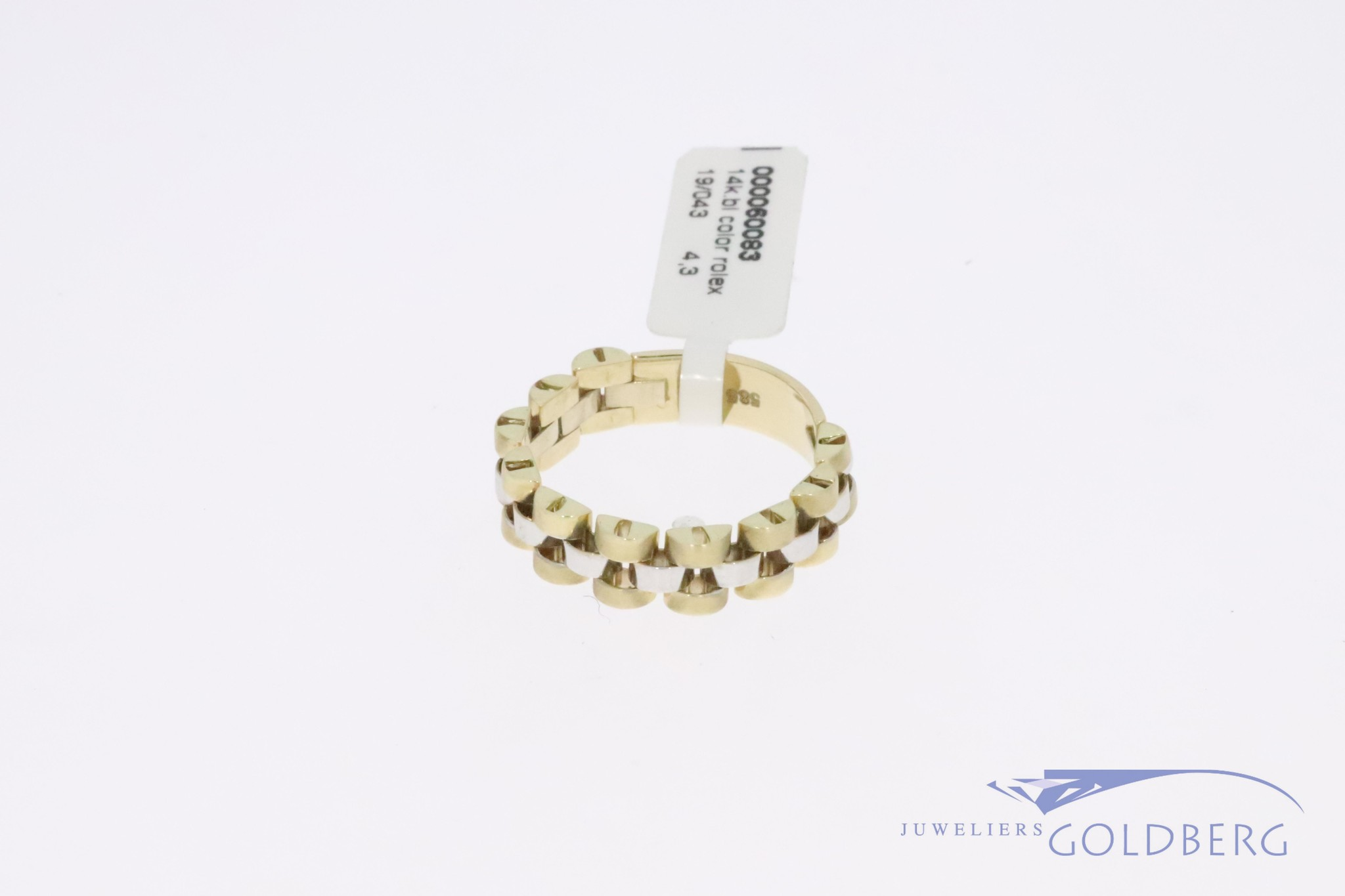 """14k gold bicolor """"Rolex-link"""" ring, 1980's-90's style."""
