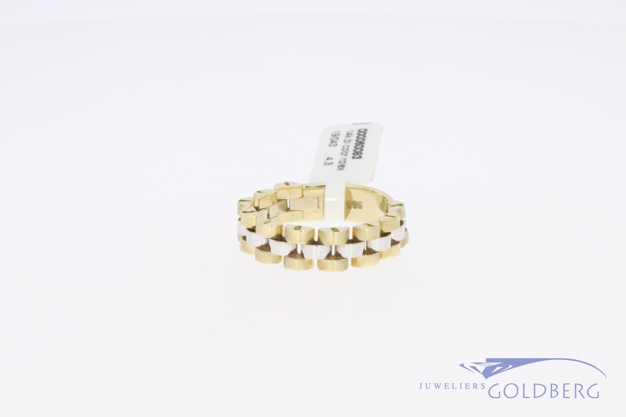"""14k gouden bicolor retro """"Rolex-schakel"""" ring, jaren '80-'90 stijl."""