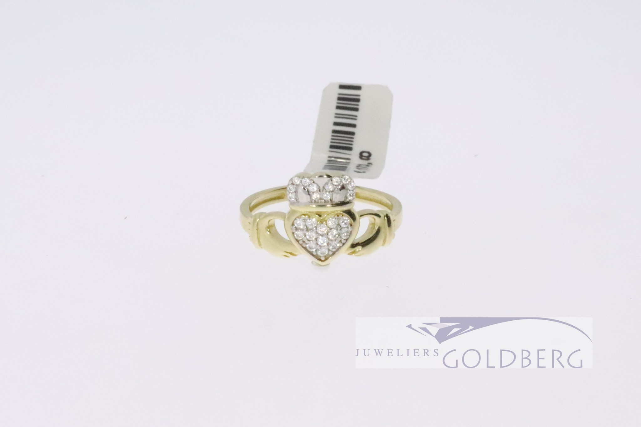 Retro friendship ring 14k gold and zirconia