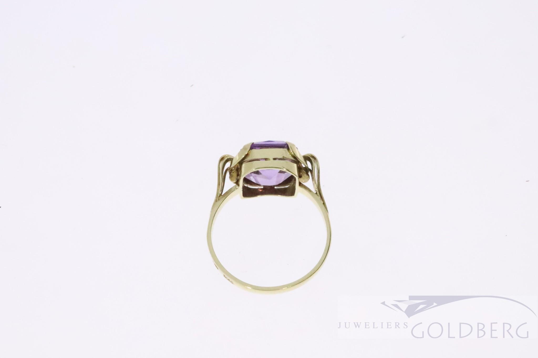 Prachtige antieke 14k gouden ring met Amethist uit de '50