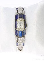18k witgoud Art Deco dameshorloge met diamant en saffier