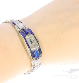 18k white gold Art Deco ladies watch with diamond and sapphire