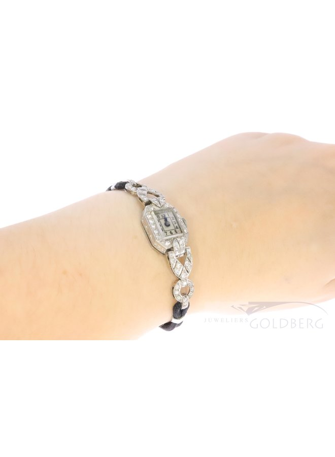 platinum art deco ladies watch with diamond