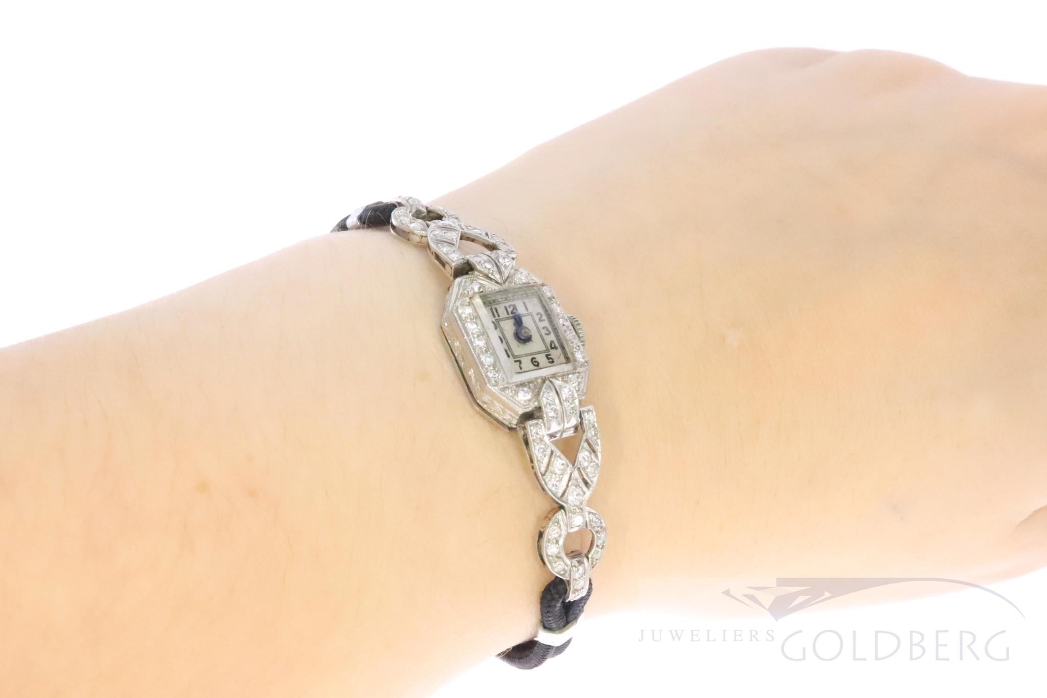 platina art deco dames horloge met diamant