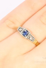 small and sweet art deco 18k. bicolour ring with diamond and sapphire