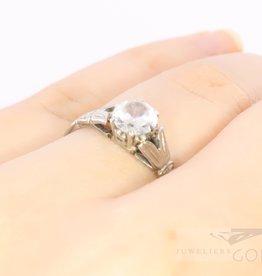 18k witgouden solitair ring met zirkonia