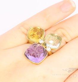 Aparte ring 14k goud met grote edelstenen en diamant